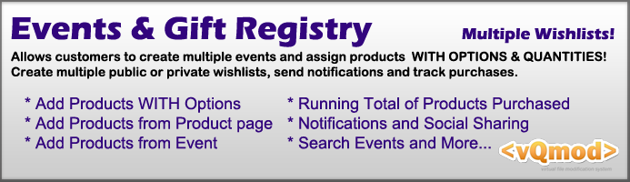 Events and gift Registry